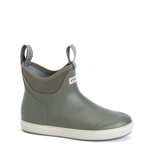 "Women's Xtratuf 6"" Ankle Deck Boot in Taupe from the side"