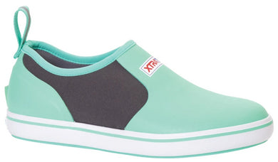Women's Xtratuf Deck Shoe in Seafoam from the side