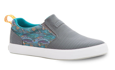 Women's Xtratuf Fishe Wear Sharkbyte Deck Shoe in Gray from the side