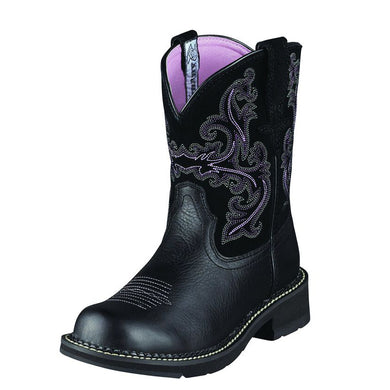 Womens Ariat Fatbaby II Western Boot in Black Deertan from the front
