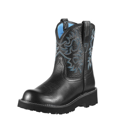 Womens Ariat Fatbaby Western Boot in Black Deertan from the front