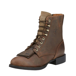 Womens Ariat Heritage Lacer II Boot in Distressed Brown from the front