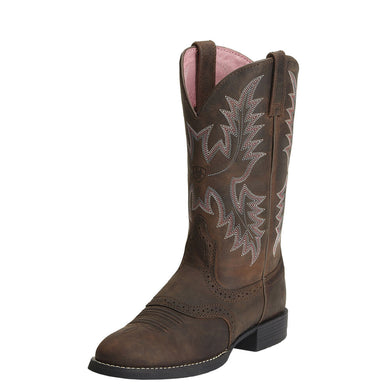 Womens Ariat Heritage Stockman Western Boot in Driftwood Brown from the front