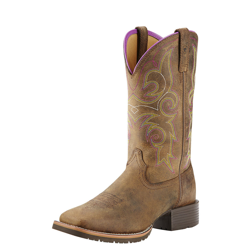 Womens Ariat Hybrid Rancher Western Boot in Distressed Brown from the front