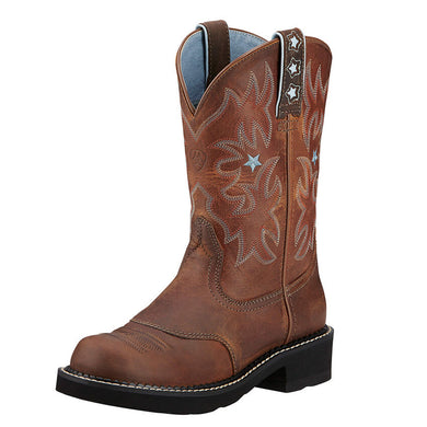 Womens Ariat Probaby Western Boot in Driftwood Brown from the front