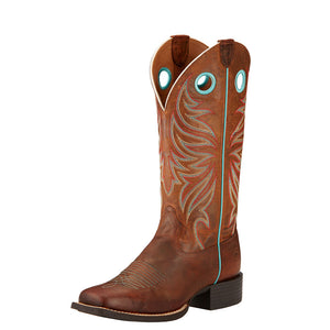 Womens Ariat Round Up Ryder Western Boot in Sassy Brown from the front