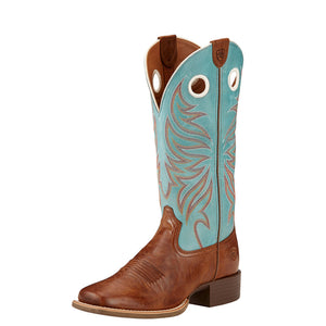 Womens Ariat Round Up Ryder Western Boot in Wood from the front