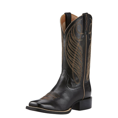 Womens Ariat Round Up Wide Square Toe Western Boot in Limousin Black from the front