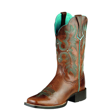 Womens Ariat Tombstone Western Boot in Sassy Brown from the front