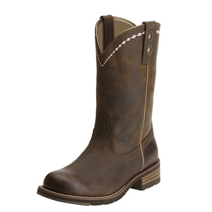 Womens Ariat Unbridled Roper Western Boot in Distressed Brown from the front