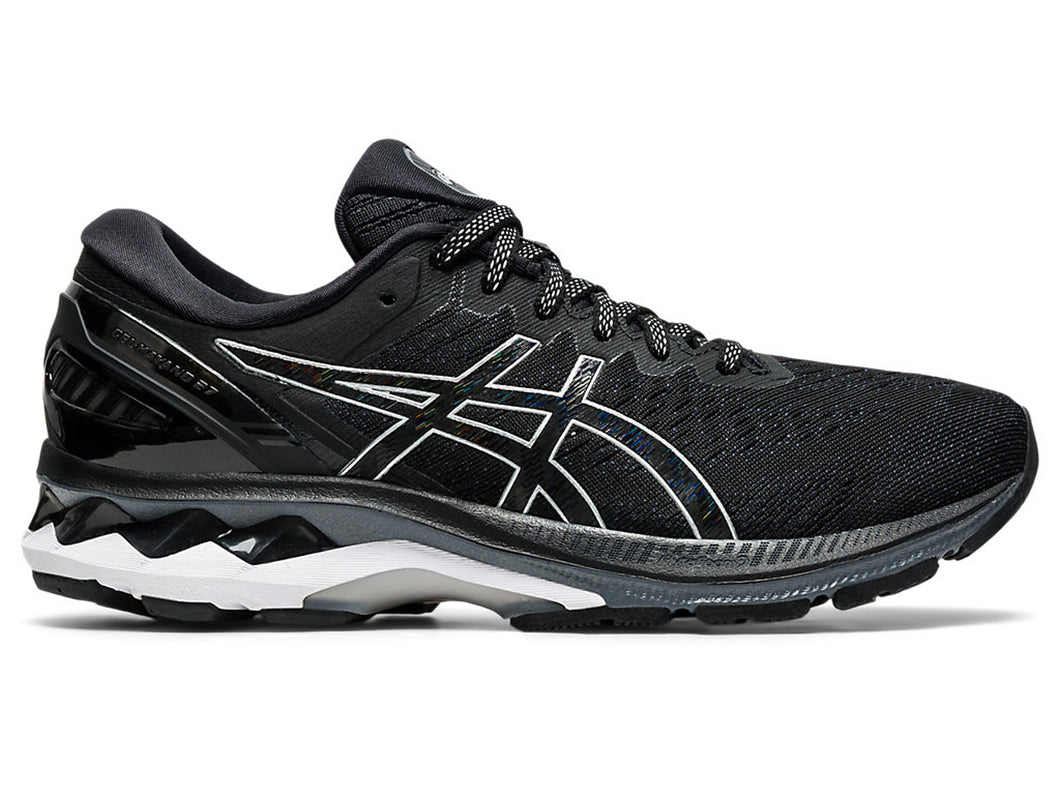 Women's Asics GEL-Kayano 27 Running Shoe in Black/Pure Silver from the side