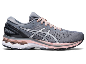 Women's Asics GEL-Kayano 27 Running Shoe in Sheet Rock/Pure Silver from the side
