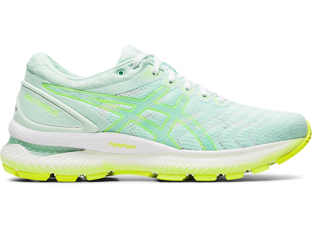 Women's Asics GEL-Nimbus 22 Modern Tokyo Running Shoe in Mint Tint/Safety Yellow from the side