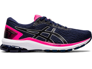 Women's Asics GT-1000 9 Running Shoe in Peacoat/Black from the side