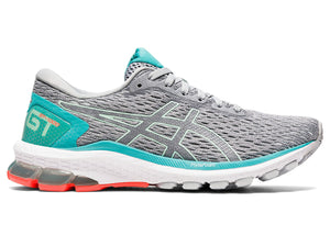 Women's Asics GT-1000 9 Running Shoe in Piedmont Grey/Bio Mint from the side
