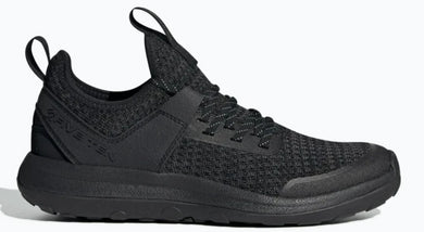 Women's Five Ten Access Knit Approach Shoe in Black/Carbon/Ash Grey from the side