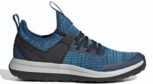Women's Five Ten Access Knit Approach Shoe in Legend Marine/Shock Cyan/Raw Amber from the side