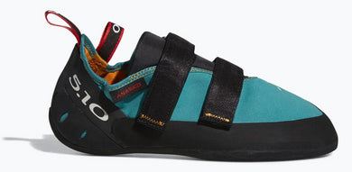 Women's Five Ten Anasazi LV Climbing Shoe in Collegiate Aqua/Black/Red from the side