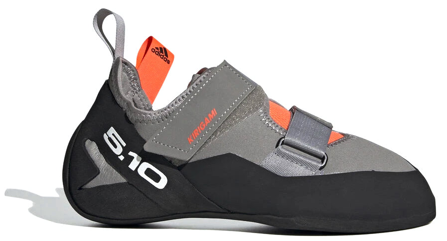 Women's Five Ten Kirigami Climbing Shoe in Dove Grey/Black/Solar Red from the side