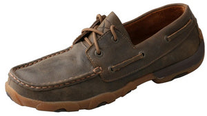 Womens Twisted X Boat Shoe Driving Moccasins in Bomber from the front