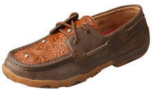 Load image into Gallery viewer, Womens Twisted X Boat Shoe Driving Moccasins in Brown Tooled Flower from the front