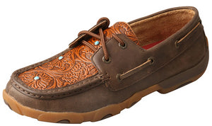 Womens Twisted X Boat Shoe Driving Moccasins in Brown Tooled Flower from the front