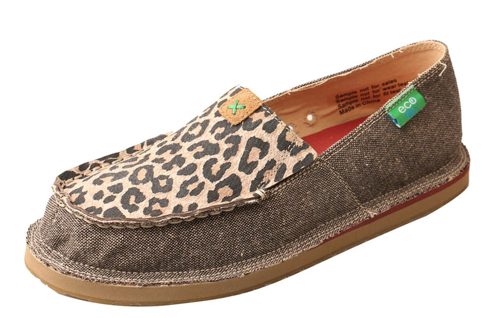 Women's Twisted X Slip-On Loafer Shoe in Dust & Leopard from the front