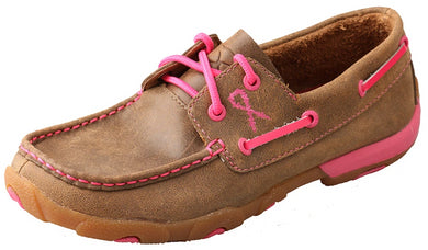Women's Twisted X TETWP Boat Shoe Driving Moccasins in Bomber & Neon Pink from the front