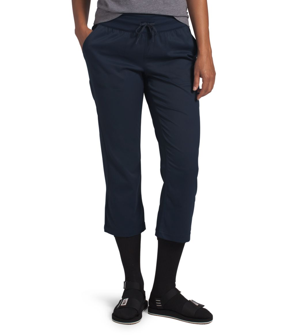 Women's The North Face Aphrodite Motion Capri Pant in Urban Navy from the front