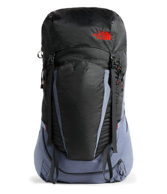 Youth The North Face Terra 55 Backpack in Grisaille Grey/Asphalt Grey from front view
