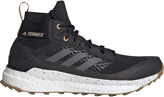 Men's adidas Terrex Free Hiker Primeblue Hiking Shoe in Core Black/Grey Four/Mesa from the side