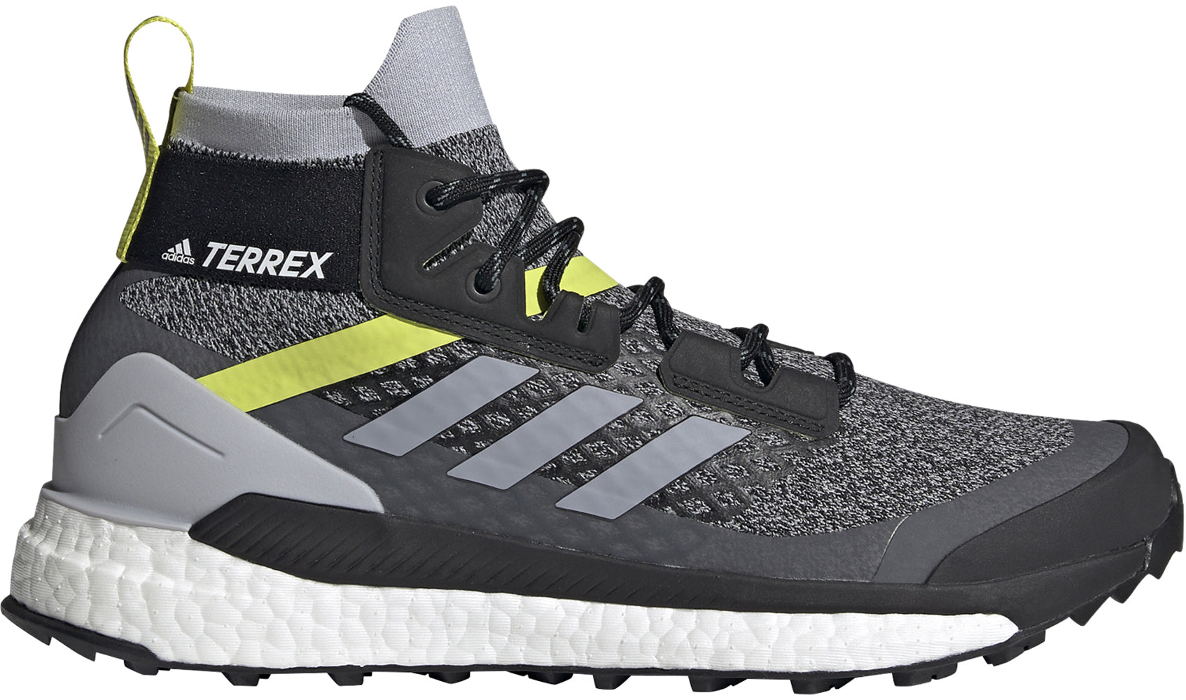 Men's adidas Terrex Free Hiker Primeblue Hiking Shoe in Halo Silver/Halo Silver/Core Black from the side
