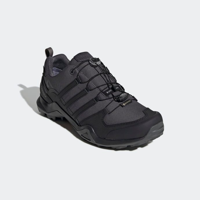 Men's adidas Terrex Swift R2 Gore-Tex Hiking Shoe in Grey Six / Core Black / Grey Four from the side view