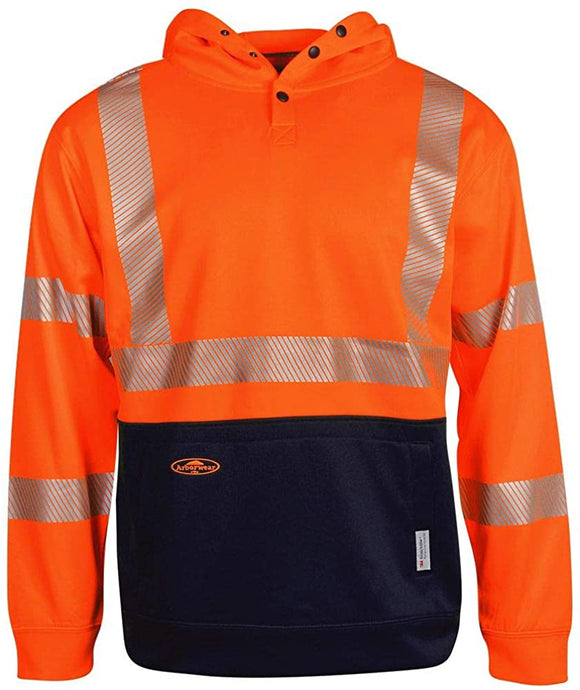 Men's Arborwear High Vis Tech Double Thick Pullover Sweatshirt in Hi Viz Orange
