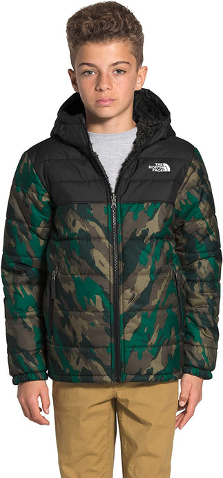 Boys' The North Face Reversible Mount Chimborazo Hoodie Jacket in Evergreen Mountain Camo Print from the front