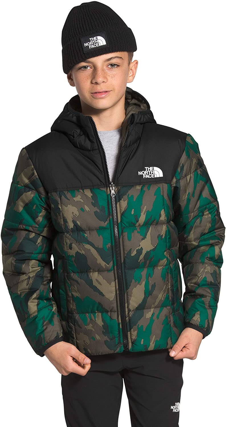 Boys' The North Face Reversile Perrito Jacket in Evergreen Mountain Camo Print from the front