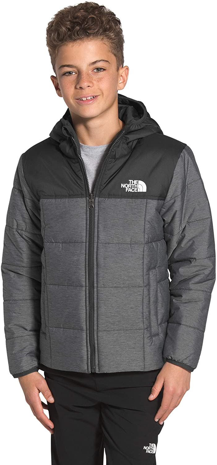 Boys' The North Face Reversile Perrito Jacket in TNF Medium Grey Heather from the front