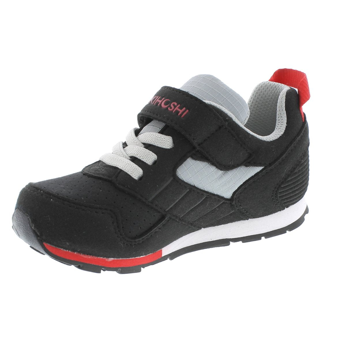 Child Tsukihoshi Racer Sneaker in Black/Red from the front view
