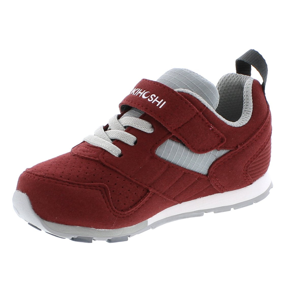 Child Tsukihoshi Racer Sneaker in Crimson/Gray from the front view