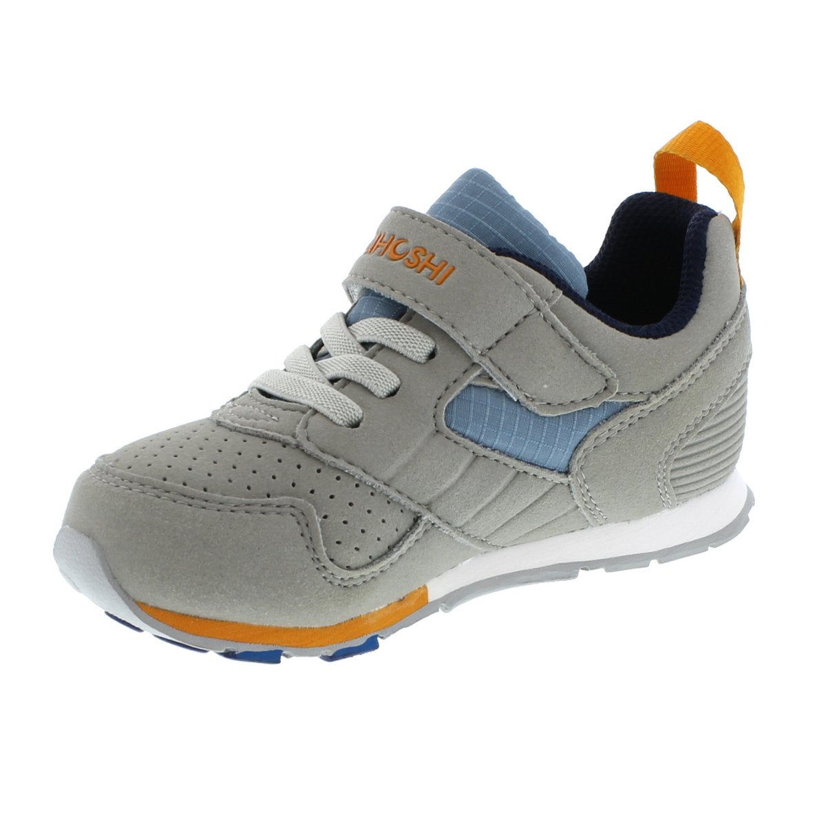 Child Tsukihoshi Racer Sneaker in Gray/Sea from the front view