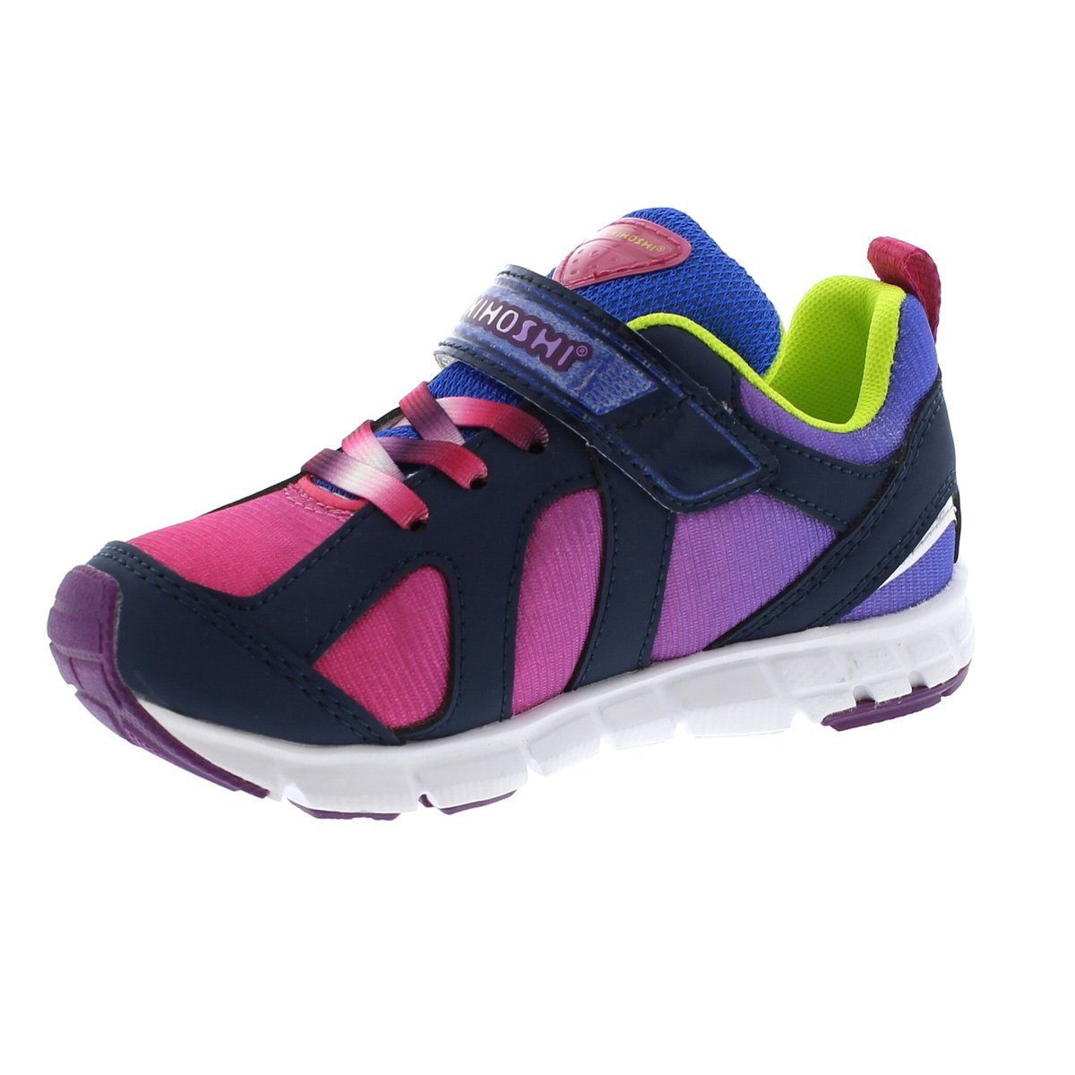 Child Tsukihoshi Rainbow Sneaker in Navy/Fuchsia from the front view