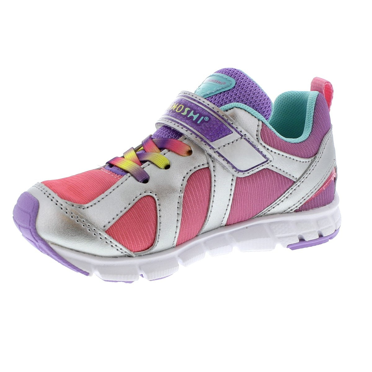 Child Tsukihoshi Rainbow Sneaker in Silver/Lavender from the front view