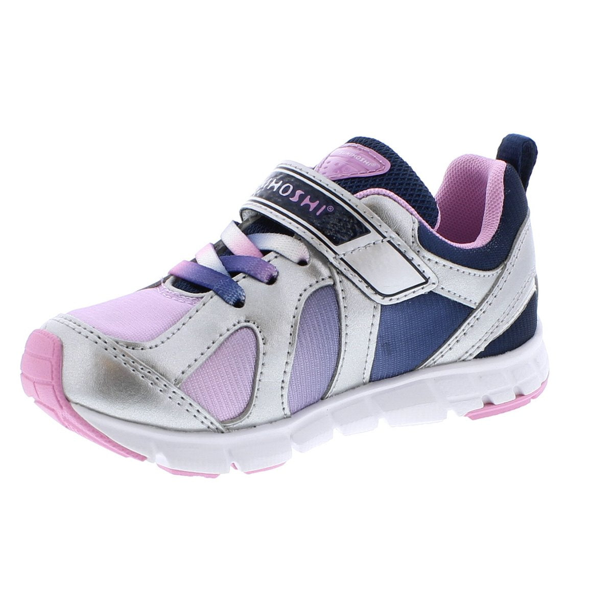 Child Tsukihoshi Rainbow Sneaker in Silver/Navy from the front view