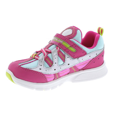 Child Tsukihoshi Speed2 Sneaker in Fuchsia/Mint from the front view