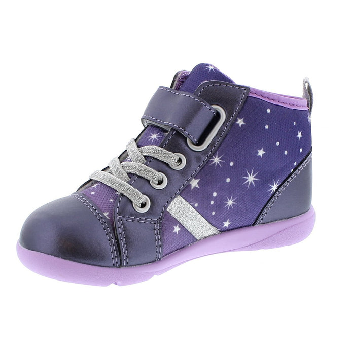 Child Tsukihoshi Star Sneaker in Navy/Purple from the front view