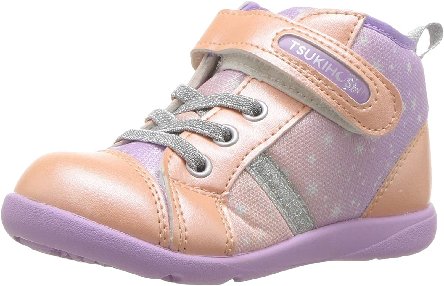 Child Tsukihoshi Star Sneaker  in Peach/Lavender from the front view