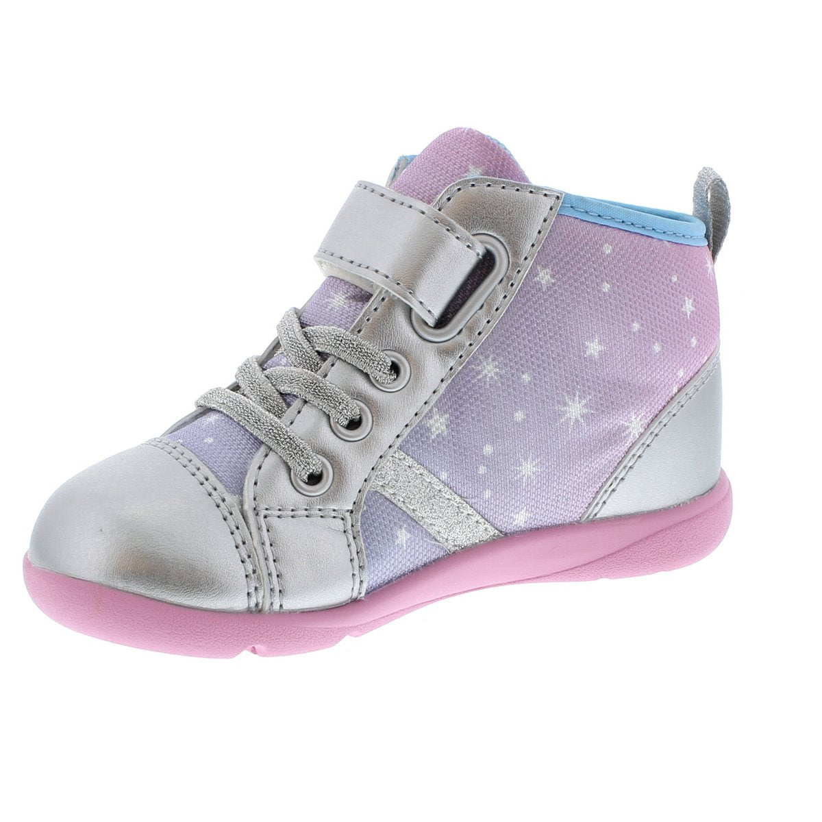 Child Tsukihoshi Star Sneaker in Silver/Pink from the front view