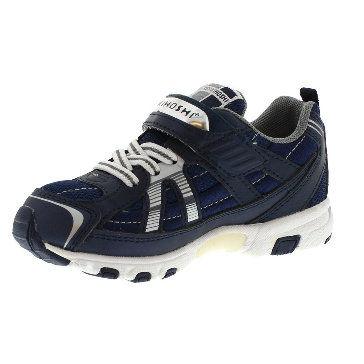 Child Tsukihoshi Storm Sneaker in Navy/Silver from the front view