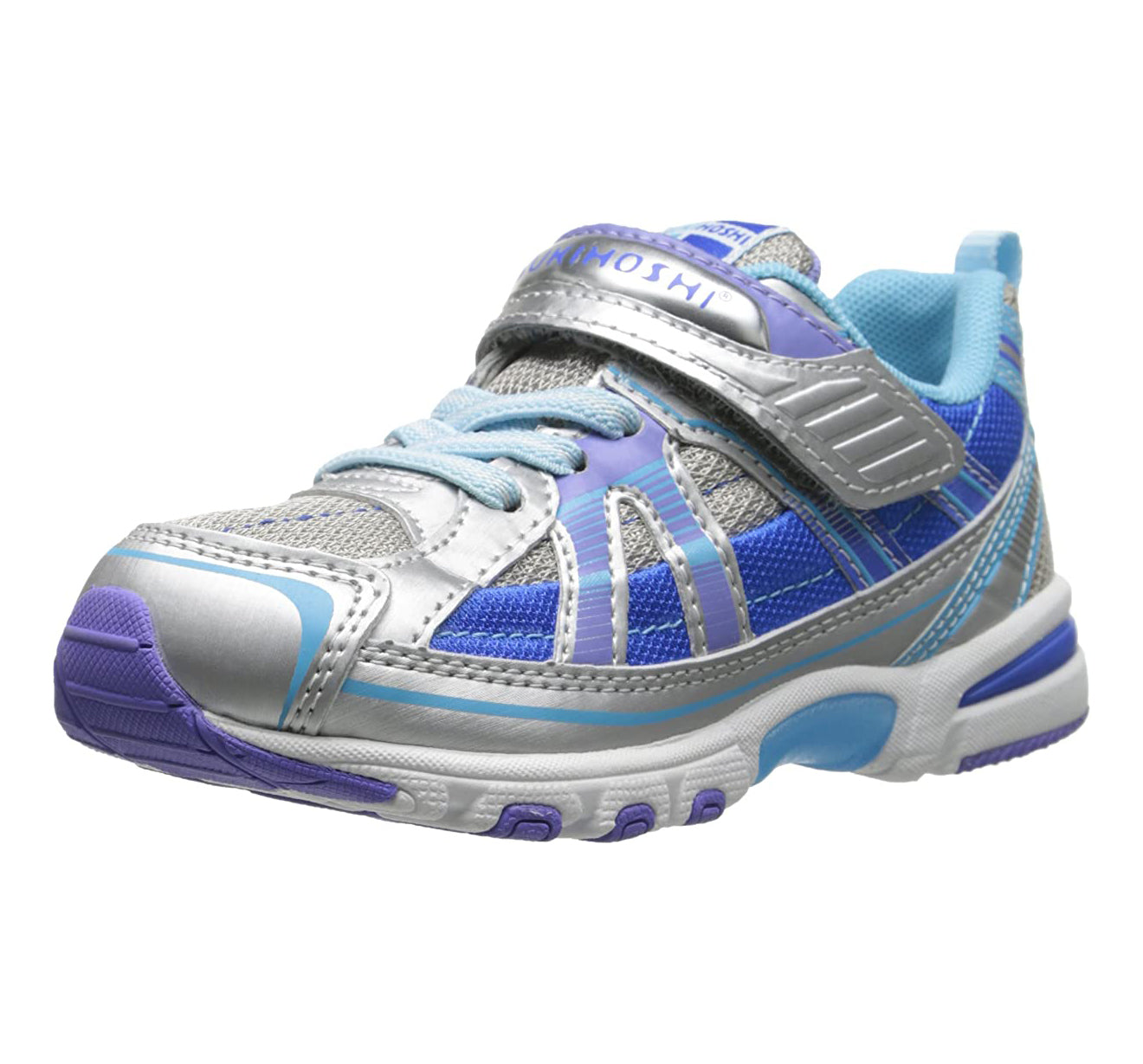 Child Tsukihoshi Storm Sneaker in Silver/Aqua from the front view