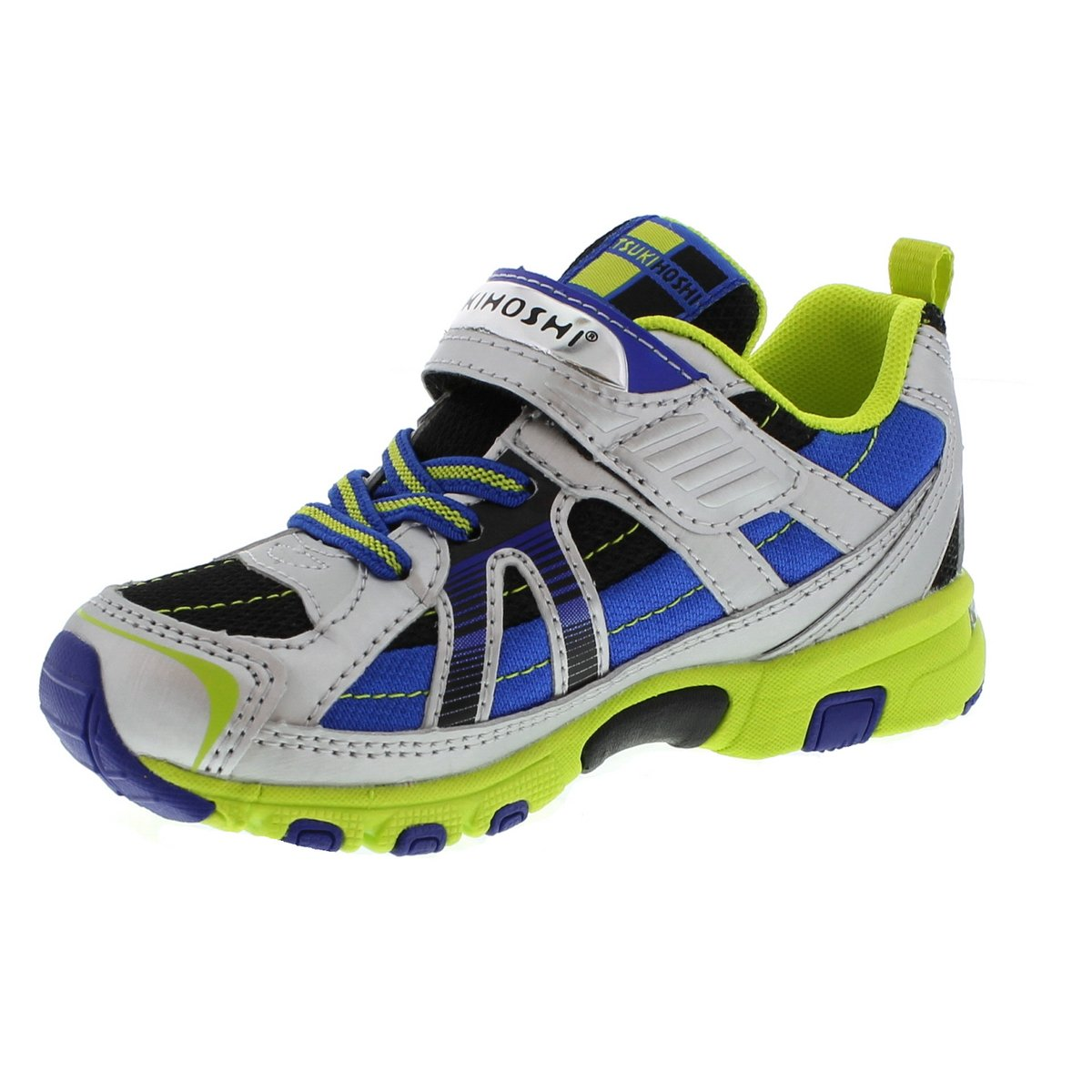 Child Tsukihoshi Storm Sneaker in Silver/Lime from the front view
